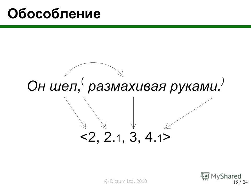 © Dictum Ltd. 2010 16 / 24 Обособление