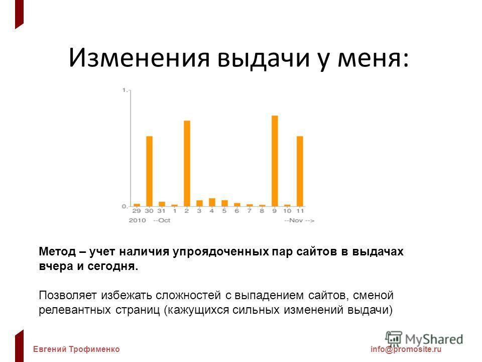 Евгений Трофименкоinfo@promosite.ru Изменения выдачи у меня: Метод – учет наличия упроядоченных пар сайтов в выдачах вчера и сегодня. Позволяет избежать сложностей с выпадением сайтов, сменой релевантных страниц (кажущихся сильных изменений выдачи)