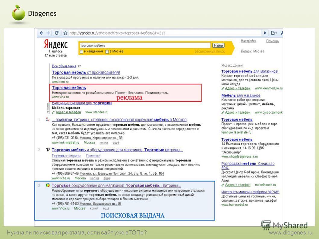 Нужна ли поисковая реклама, если сайт уже вТОПе?www.diogenes.ru