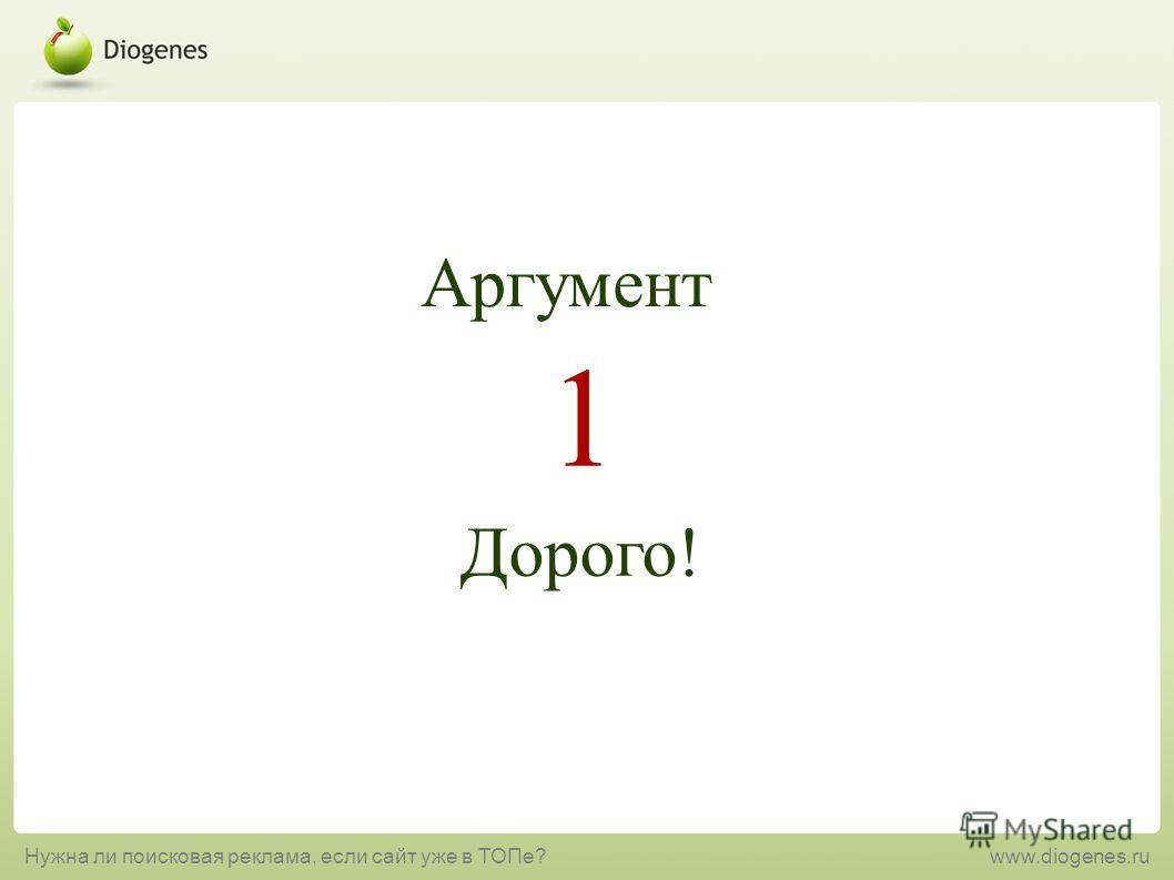 Дорого! 1 Аргумент Нужна ли поисковая реклама, если сайт уже в ТОПе?www.diogenes.ru