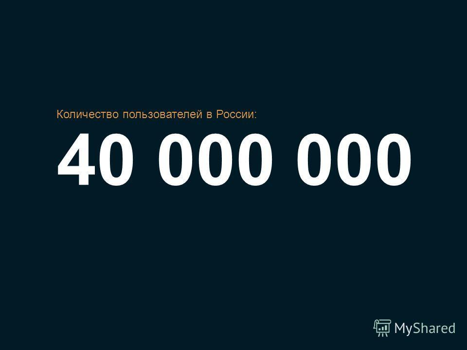 40 000 000 Количество пользователей в России: