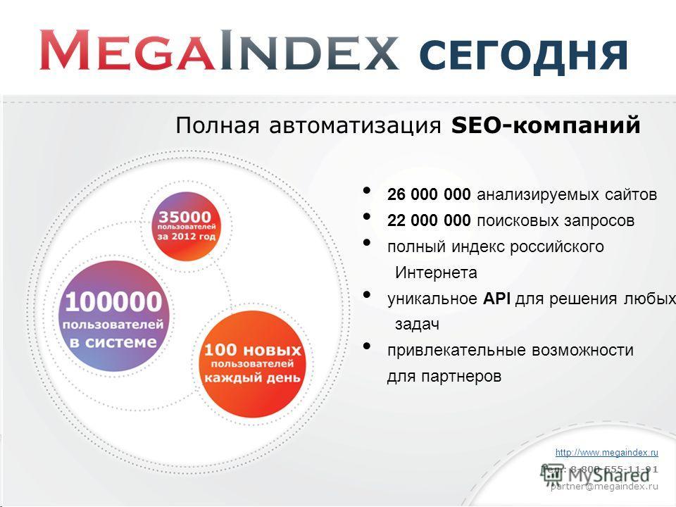 СЕГОДНЯ Полная автоматизация SEO-компаний 26 000 000 анализируемых сайтов 22 000 000 поисковых запросов полный индекс российского Интернета уникальное API для решения любых задач привлекательные возможности для партнеров http://www.megaindex.ru Тел.: