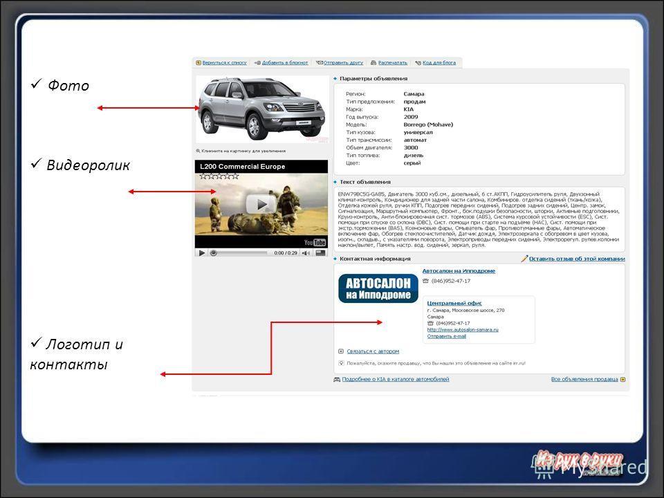 Фото Видеоролик Логотип и контакты