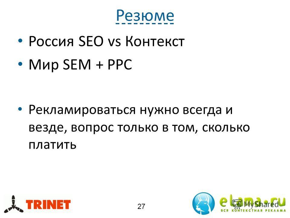 Резюме Россия SEO vs Контекст Мир SEM + PPC Рекламироваться нужно всегда и везде, вопрос только в том, сколько платить 27