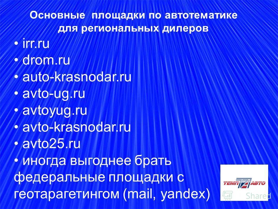 Основные площадки по автотематике для региональных дилеров irr.ru drom.ru auto-krasnodar.ru avto-ug.ru avtoyug.ru avto-krasnodar.ru avto25.ru иногда выгоднее брать федеральные площадки с геотарагетингом (mail, yandex)