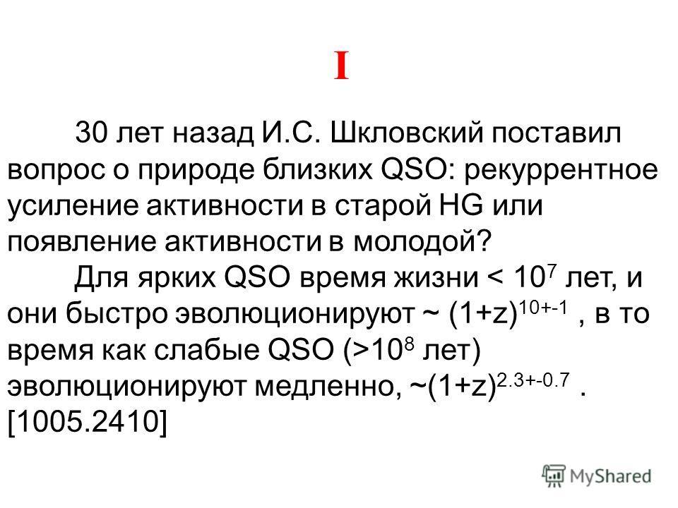 30 лет назад И.С. Шкловский поставил вопрос о природе близких QSO: рекуррентное усиление активности в старой HG или появление активности в молодой? Для ярких QSO время жизни 10 8 лет) эволюционируют медленно, ~(1+z) 2.3+-0.7. [1005.2410] I