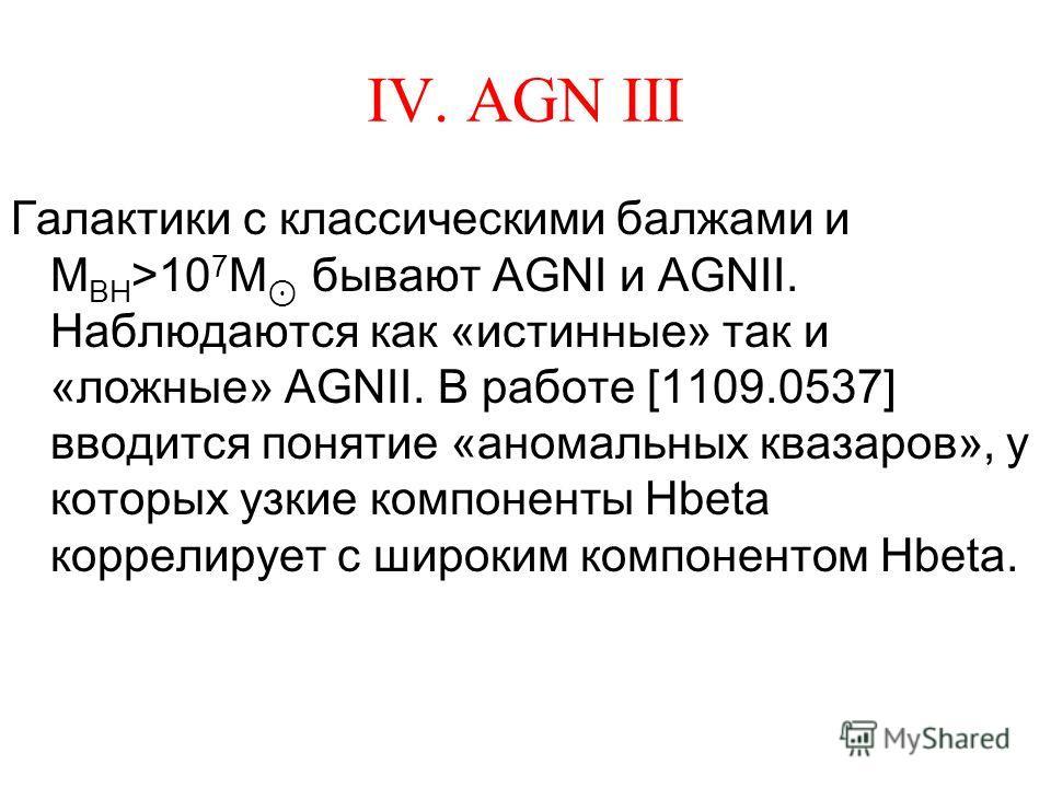 IV. AGN III Галактики с классическими балжами и M BH >10 7 M бывают AGNI и AGNII. Наблюдаются как «истинные» так и «ложные» AGNII. В работе [1109.0537] вводится понятие «аномальных квазаров», у которых узкие компоненты Hbeta коррелирует с широким ком
