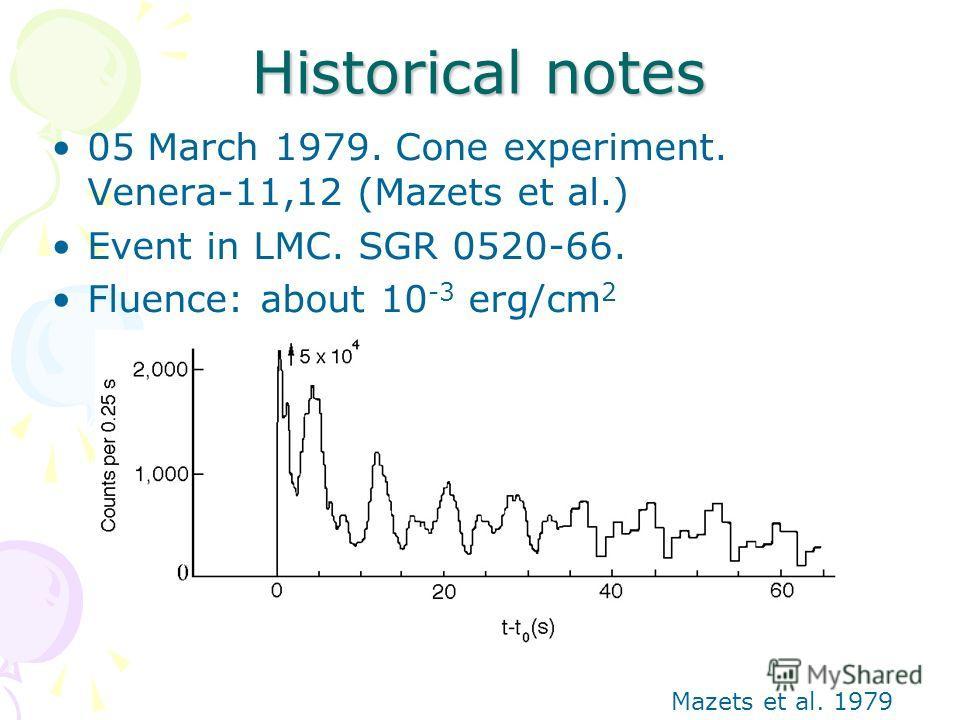 Historical notes 05 March 1979. Cone experiment. Venera-11,12 (Mazets et al.) Event in LMC. SGR 0520-66. Fluence: about 10 -3 erg/cm 2 Mazets et al. 1979