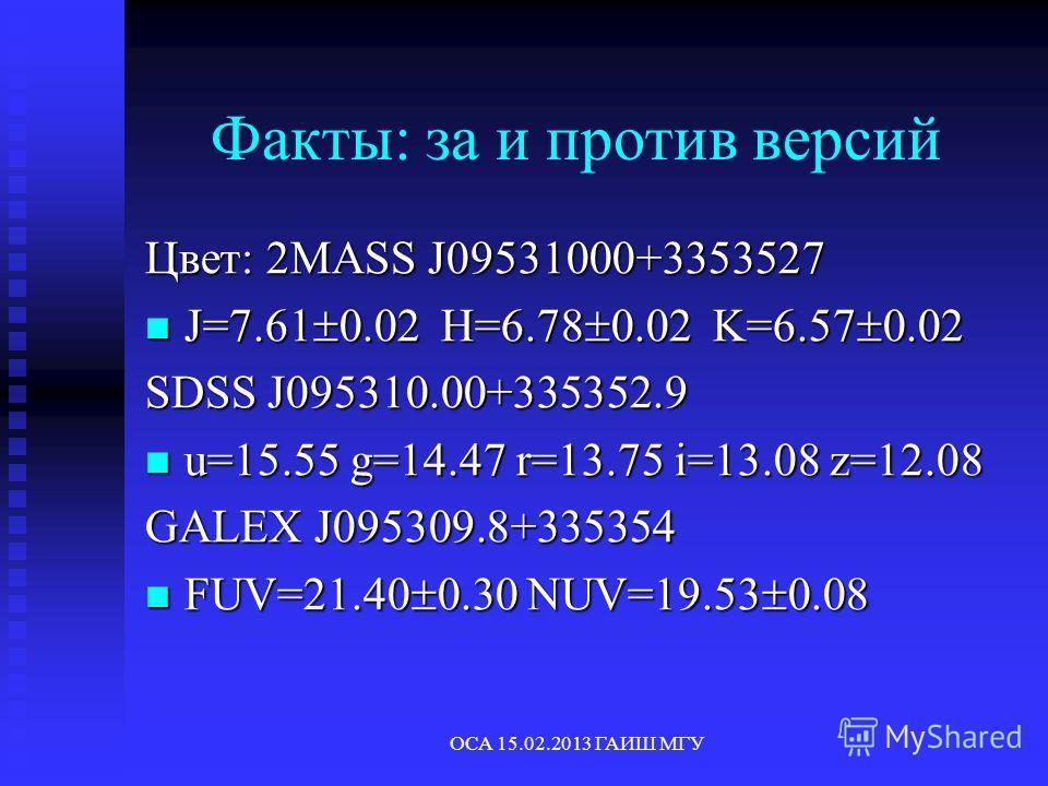 ОСА 15.02.2013 ГАИШ МГУ Факты: за и против версий Цвет: 2MASS J09531000+3353527 J=7.61 0.02 H=6.78 0.02 K=6.57 0.02 J=7.61 0.02 H=6.78 0.02 K=6.57 0.02 SDSS J095310.00+335352.9 u=15.55 g=14.47 r=13.75 i=13.08 z=12.08 u=15.55 g=14.47 r=13.75 i=13.08 z