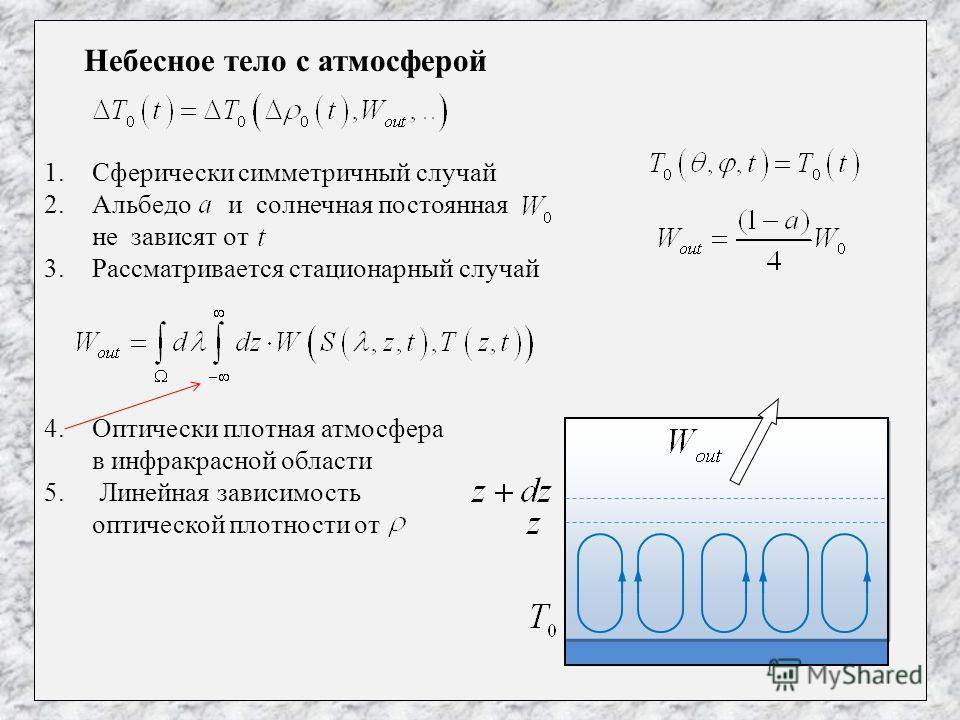 Небесное тело с атмосферой 1.Сферически симметричный случай 2.Альбедо и солнечная постоянная не зависят от 3.Рассматривается стационарный случай 4.Оптически плотная атмосфера в инфракрасной области 5. Линейная зависимость оптической плотности от