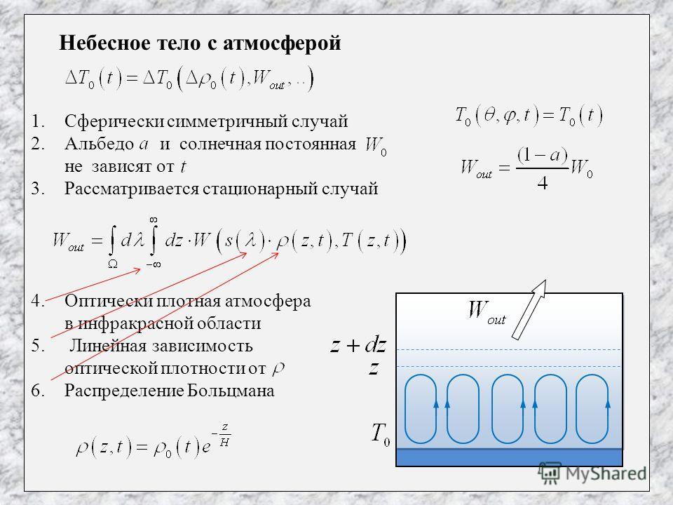 Небесное тело с атмосферой 1.Сферически симметричный случай 2.Альбедо и солнечная постоянная не зависят от 3.Рассматривается стационарный случай 4.Оптически плотная атмосфера в инфракрасной области 5. Линейная зависимость оптической плотности от 6.Ра