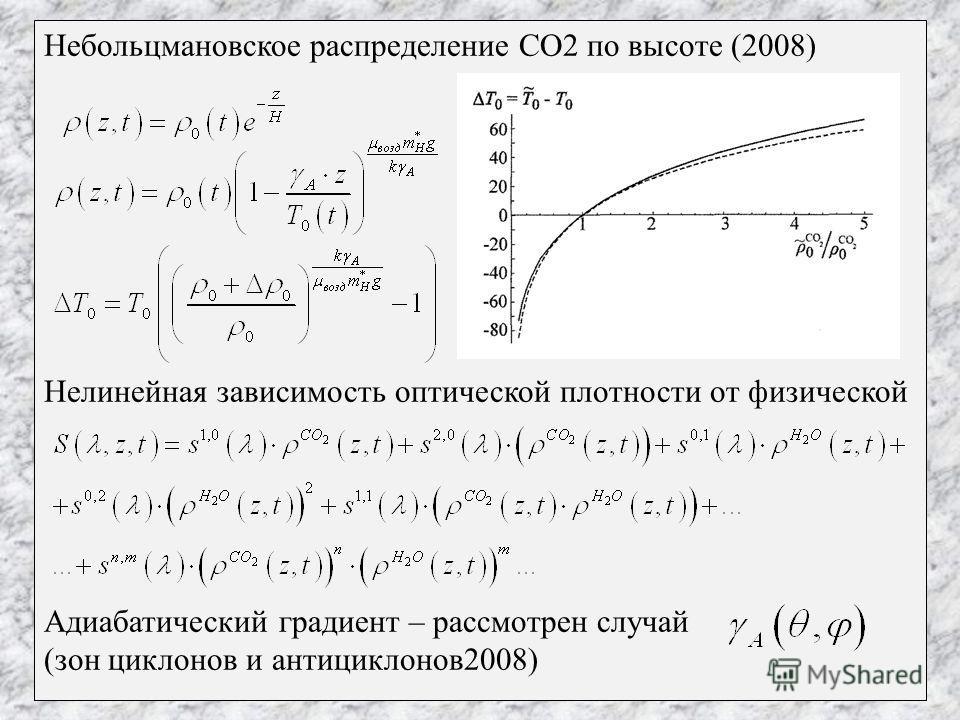 Небольцмановское распределение СО2 по высоте (2008) Нелинейная зависимость оптической плотности от физической Адиабатический градиент – рассмотрен случай (зон циклонов и антициклонов2008)