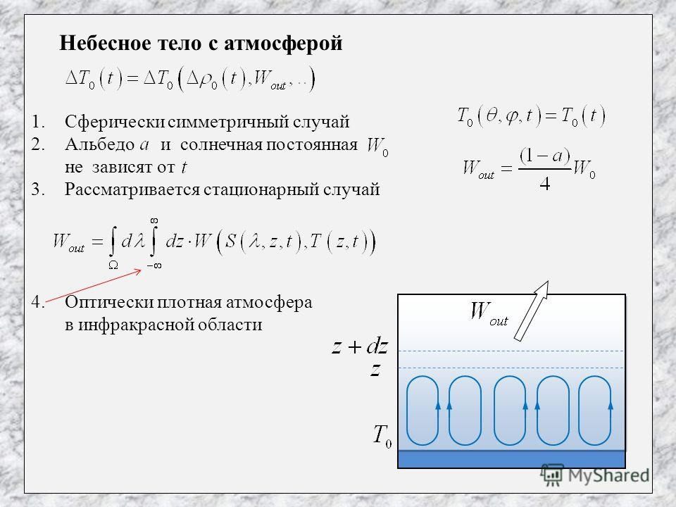 Небесное тело с атмосферой 1.Сферически симметричный случай 2.Альбедо и солнечная постоянная не зависят от 3.Рассматривается стационарный случай 4.Оптически плотная атмосфера в инфракрасной области