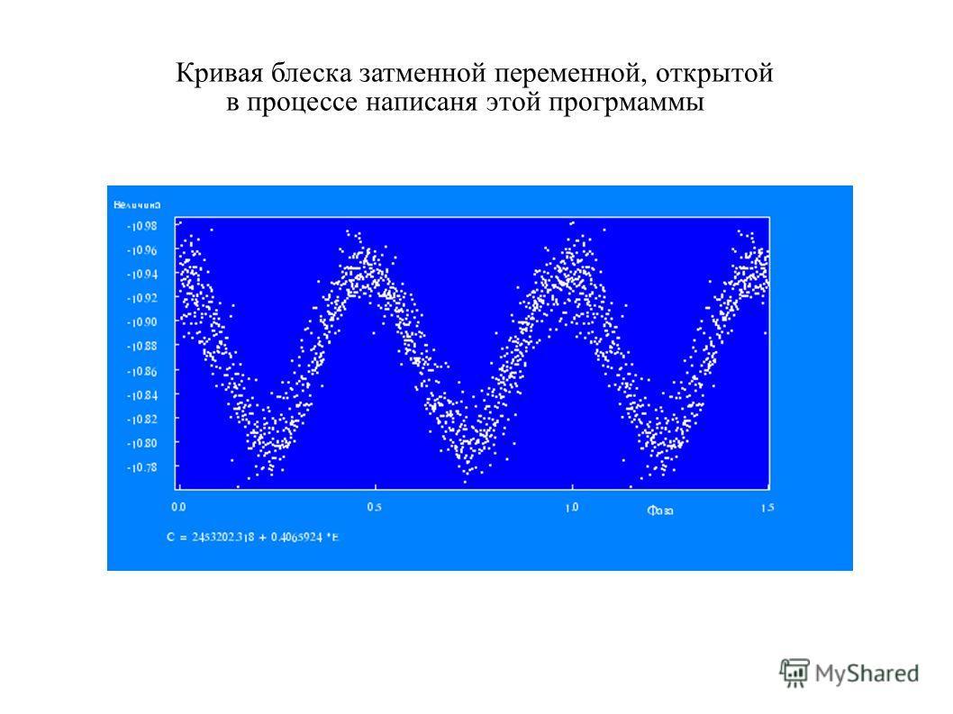 Кривая блеска затменной переменной, открытой в процессе написаня этой прогрмаммы