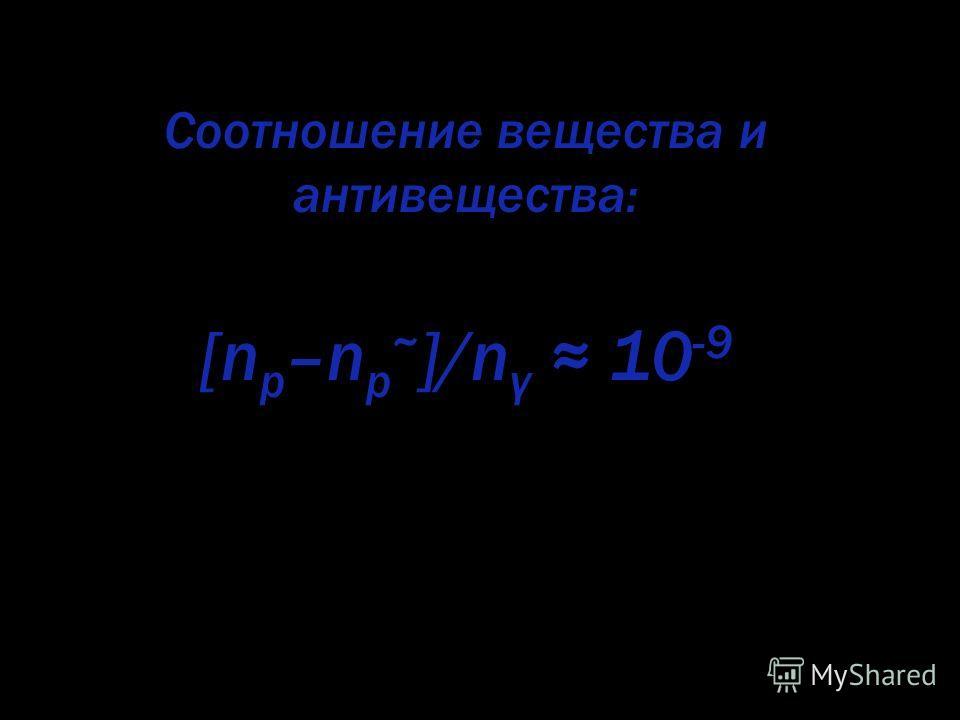 Соотношение вещества и антивещества: [n p –n p ~ ]/n γ 10 -9