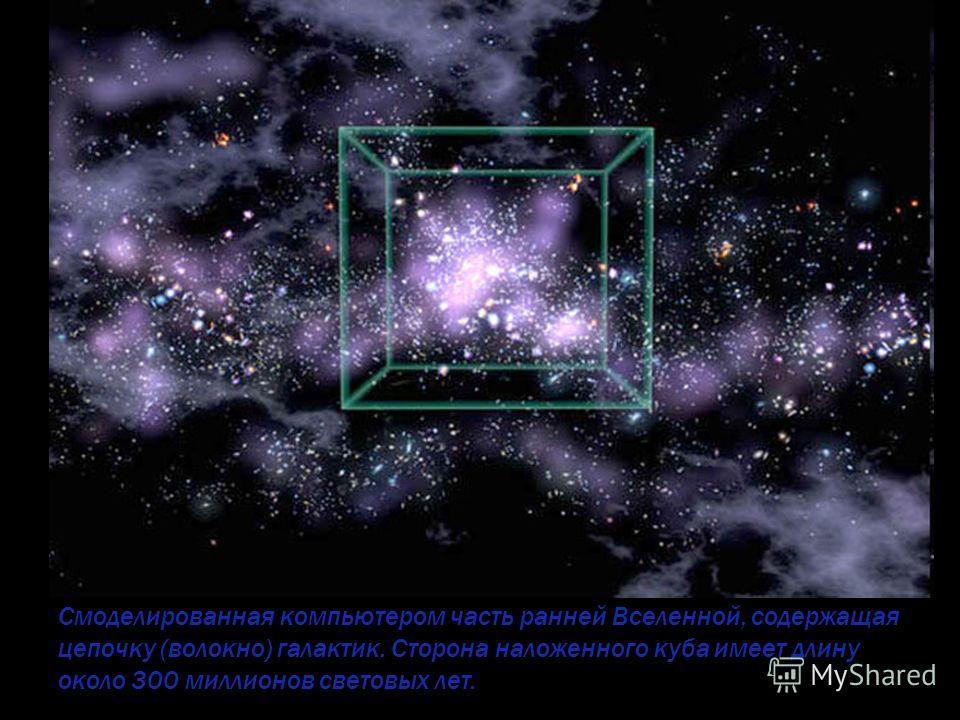 Cмоделированная компьютером часть ранней Вселенной, содержащая цепочку (волокно) галактик. Сторона наложенного куба имеет длину около 300 миллионов световых лет.