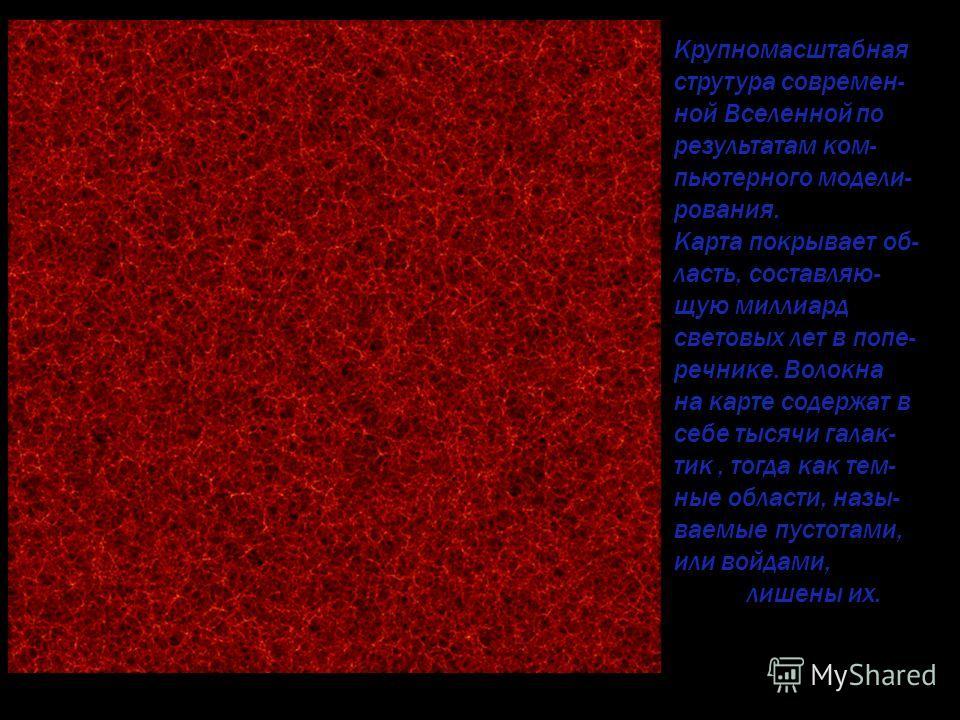 Крупномасштабная струтура современ- ной Вселенной по результатам ком- пьютерного модели- рования. Карта покрывает об- ласть, составляю- щую миллиард световых лет в попе- речнике. Волокна на карте содержат в себе тысячи галак- тик, тогда как тем- ные