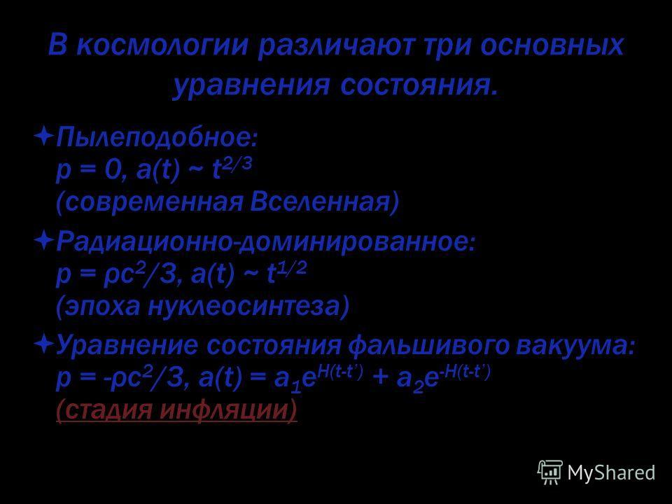 В космологии различают три основных уравнения состояния. Пылеподобное: p = 0, a(t) ~ t 2/3 (современная Вселенная) Радиационно-доминированное: p = ρc 2 /3, a(t) ~ t 1/2 (эпоха нуклеосинтеза) Уравнение состояния фальшивого вакуума: p = -ρc 2 /3, a(t)