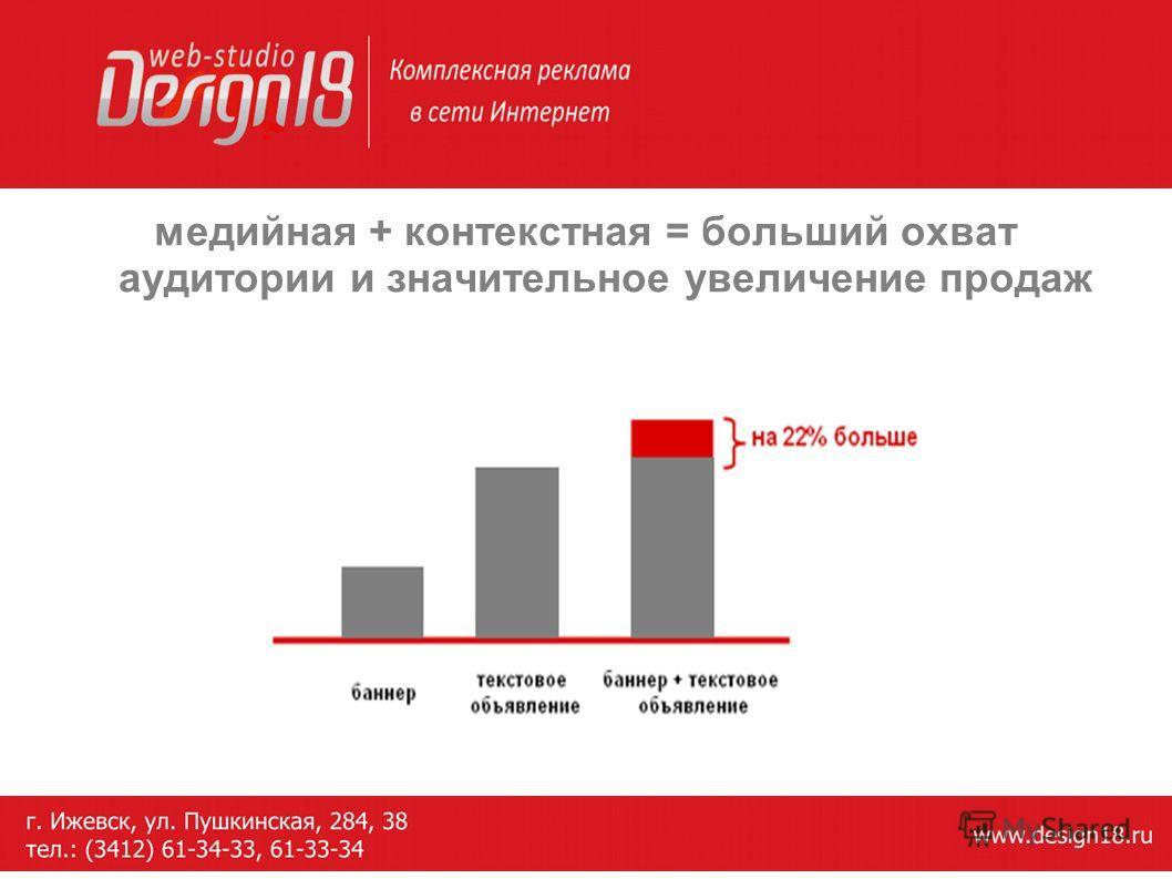 медийная + контекстная = больший охват аудитории и значительное увеличение продаж