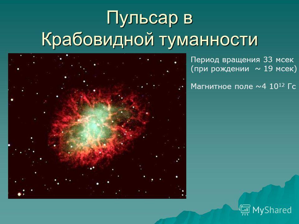 Пульсар в Крабовидной туманности Период вращения 33 мсек (при рождении ~ 19 мсек) Магнитное поле ~4 10 12 Гс