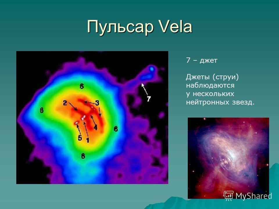 Пульсар Vela 7 – джет Джеты (струи) наблюдаются у нескольких нейтронных звезд.