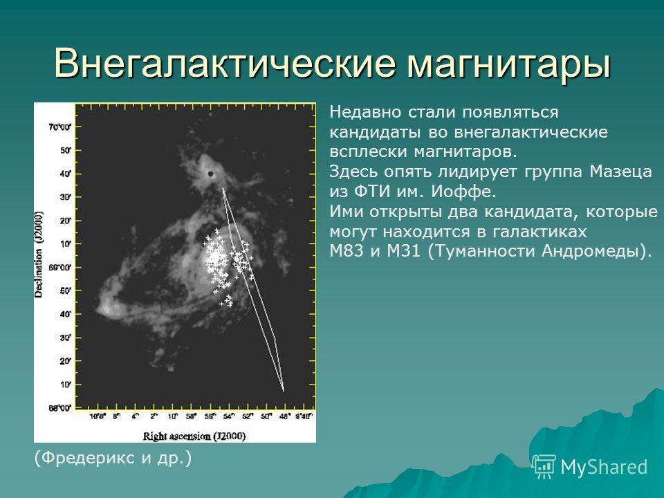 Внегалактические магнитары (Фредерикс и др.) Недавно стали появляться кандидаты во внегалактические всплески магнитаров. Здесь опять лидирует группа Мазеца из ФТИ им. Иоффе. Ими открыты два кандидата, которые могут находится в галактиках М83 и М31 (Т