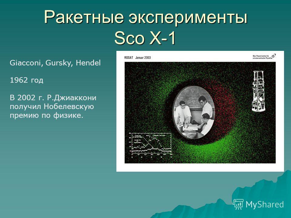 Ракетные эксперименты Sco X-1 Giacconi, Gursky, Hendel 1962 год В 2002 г. Р.Джиаккони получил Нобелевскую премию по физике.