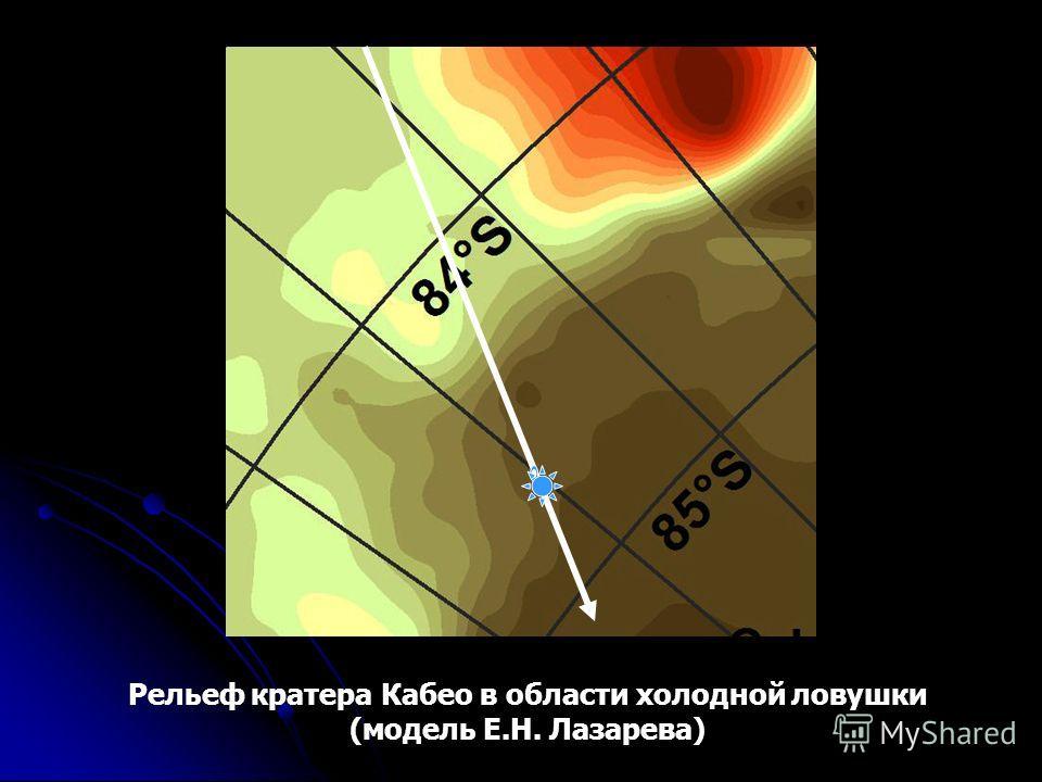Рельеф кратера Кабео в области холодной ловушки (модель Е.Н. Лазарева)