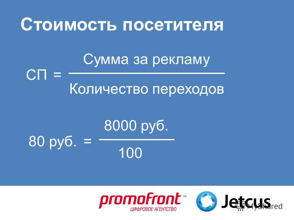 Стоимость посетителя Количество переходов Сумма за рекламу СП= 100 8000 руб. 80 руб.=