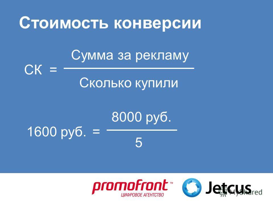 Стоимость конверсии Сколько купили Сумма за рекламу СК= 5 8000 руб. 1600 руб.=