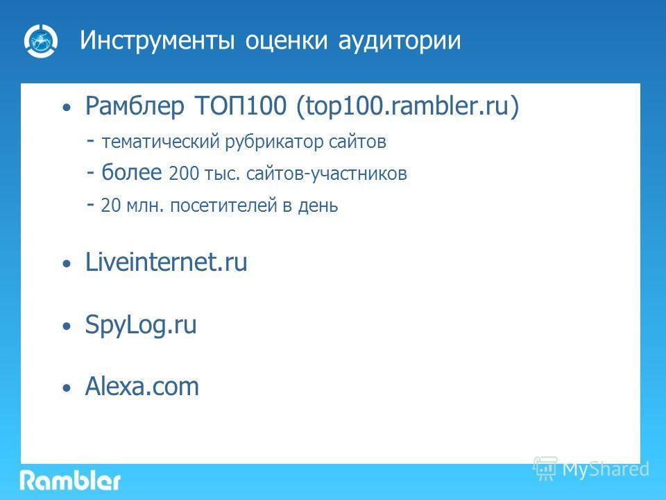 Инструменты оценки аудитории Рамблер ТОП100 (top100.rambler.ru) - тематический рубрикатор сайтов - более 200 тыс. сайтов-участников - 20 млн. посетителей в день Liveinternet.ru SpyLog.ru Alexa.com