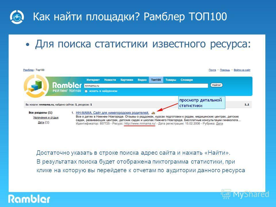 Как найти площадки? Рамблер ТОП100 Для поиска статистики известного ресурса: Достаточно указать в строке поиска адрес сайта и нажать «Найти». В результатах поиска будет отображена пиктограмма статистики, при клике на которую вы перейдете к отчетам по