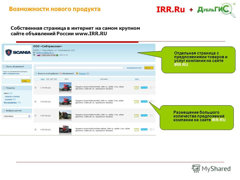 Размещение большого количества предложений компании на сайте IRR.RU Возможности нового продукта IRR.Ru + Собственная страница в интернет на самом крупном сайте объявлений России www.IRR.RU Отдельная страница с предложениями товаров и услуг компании н
