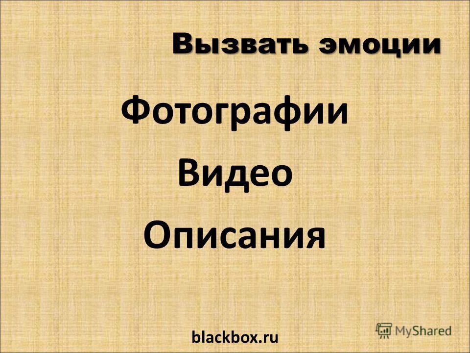 Вызвать эмоции Фотографии Видео Описания blackbox.ru