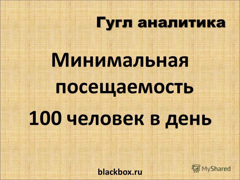 Гугл аналитика Минимальная посещаемость 100 человек в день blackbox.ru