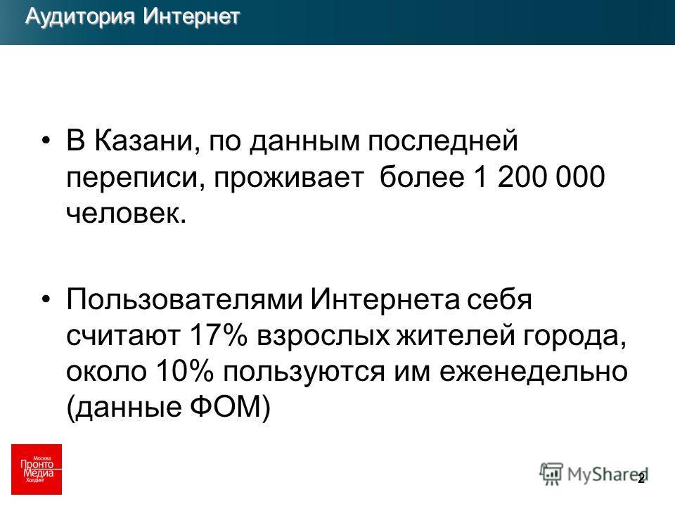 2 В Казани, по данным последней переписи, проживает более 1 200 000 человек. Пользователями Интернета себя считают 17% взрослых жителей города, около 10% пользуются им еженедельно (данные ФОМ) Аудитория Интернет Аудитория Интернет