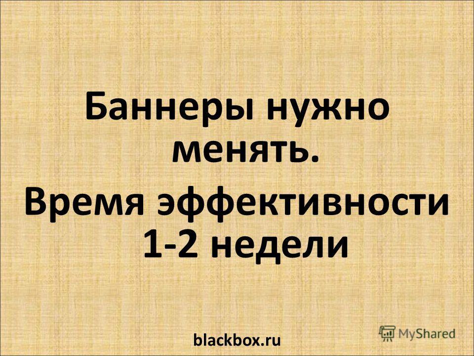 Баннеры нужно менять. Время эффективности 1-2 недели blackbox.ru