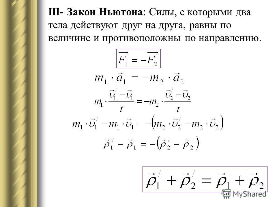 ІІІ- Закон Ньютона: Силы, с которыми два тела действуют друг на друга, равны по величине и противоположны по направлению.