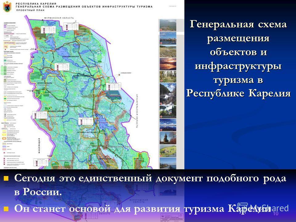 10 Генеральная схема размещения объектов и инфраструктуры туризма в Республике Карелия Сегодня это единственный документ подобного рода в России. Он станет основой для развития туризма Карелии