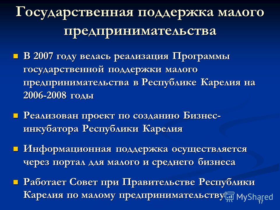 17 Государственная поддержка малого предпринимательства В 2007 году велась реализация Программы государственной поддержки малого предпринимательства в Республике Карелия на 2006-2008 годы В 2007 году велась реализация Программы государственной поддер
