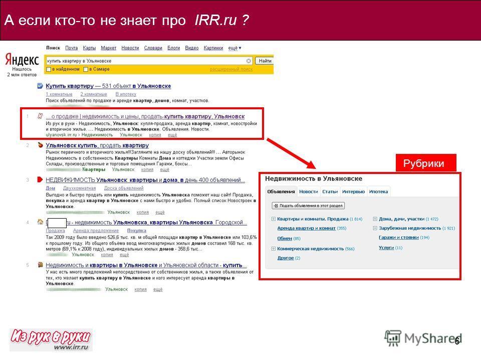 6 А если кто-то не знает про IRR.ru ? Рубрики