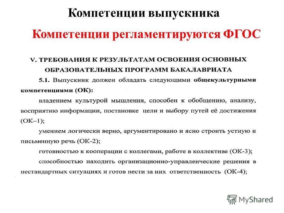 Компетенции выпускника Компетенции регламентируются ФГОС