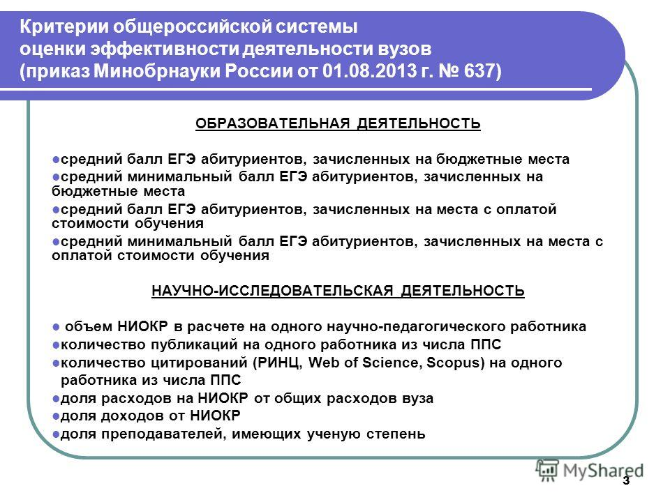 3 Критерии общероссийской системы оценки эффективности деятельности вузов (приказ Минобрнауки России от 01.08.2013 г. 637) ОБРАЗОВАТЕЛЬНАЯ ДЕЯТЕЛЬНОСТЬ средний балл ЕГЭ абитуриентов, зачисленных на бюджетные места средний минимальный балл ЕГЭ абитури