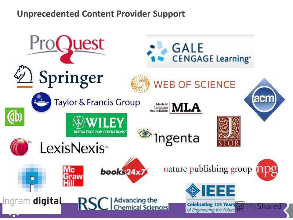 Unprecedented Content Provider Support