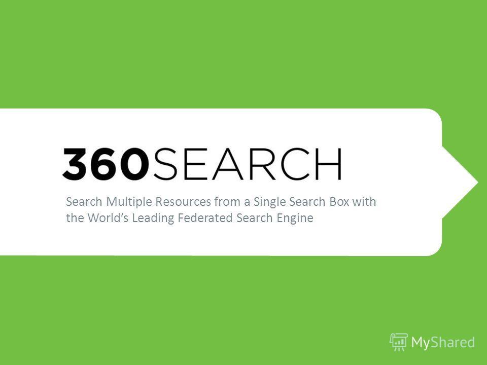 Search Multiple Resources from a Single Search Box with the Worlds Leading Federated Search Engine