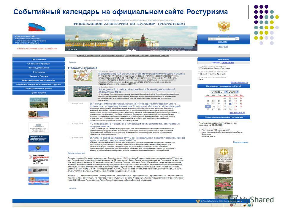 Событийный календарь на официальном сайте Ростуризма