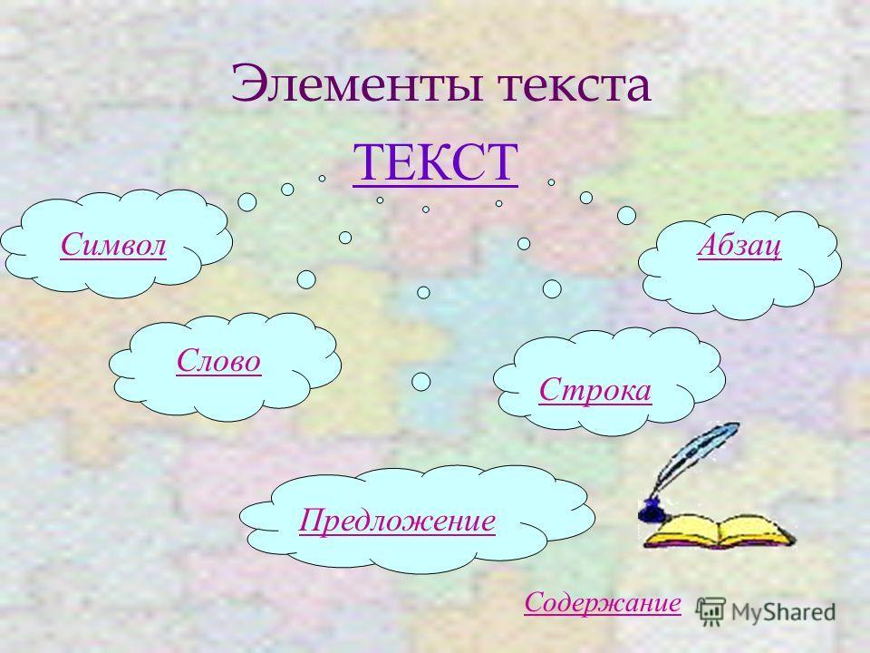 Элементы текста ТЕКСТ Символ Слово Предложение Строка Абзац Содержание
