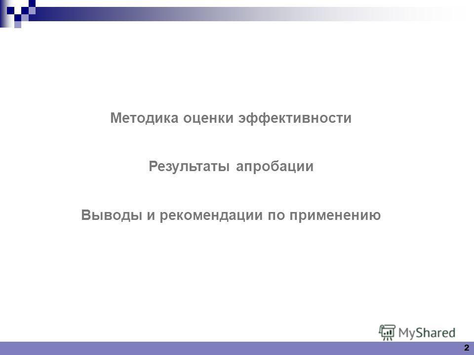 2 Методика оценки эффективности Результаты апробации Выводы и рекомендации по применению