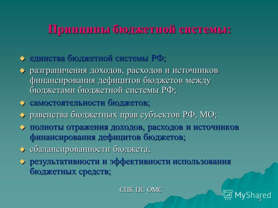 5 Принципы бюджетной системы: единства бюджетной системы РФ; единства бюджетной системы РФ; разграничения доходов, расходов и источников финансирования дефицитов бюджетов между бюджетами бюджетной системы РФ; разграничения доходов, расходов и источни