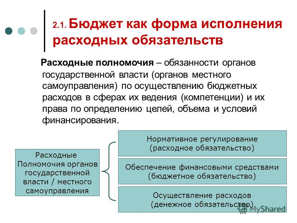 2.1. Бюджет как форма исполнения расходных обязательств Расходные полномочия – обязанности органов государственной власти (органов местного самоуправления) по осуществлению бюджетных расходов в сферах их ведения (компетенции) и их права по определени